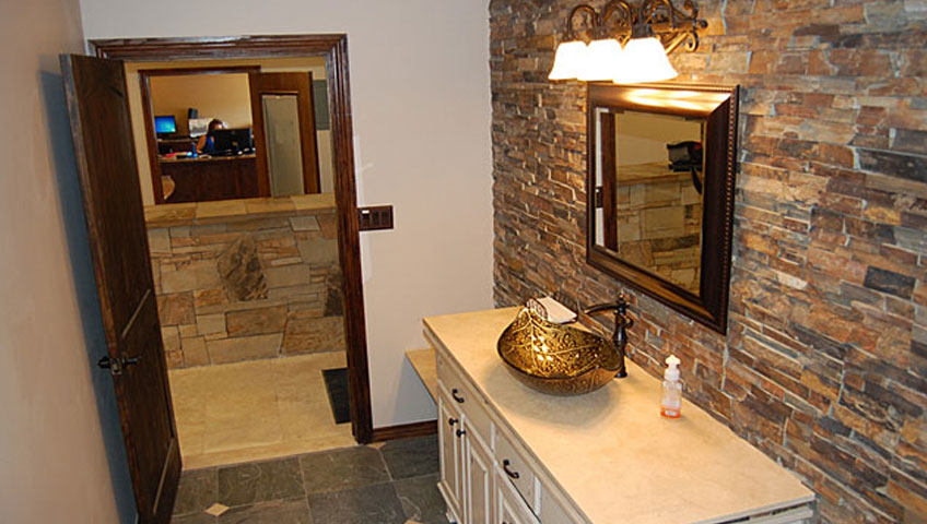 Custom stone and tile bathroom remodeling room
