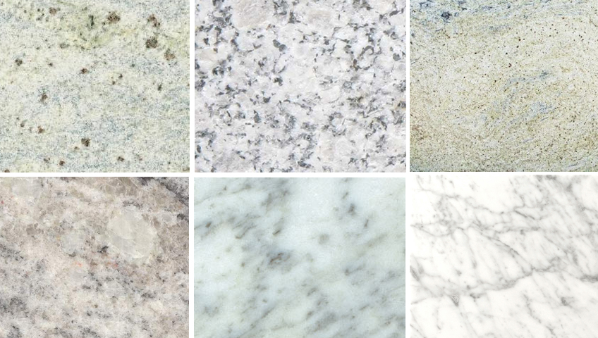 granite, marble and quartz